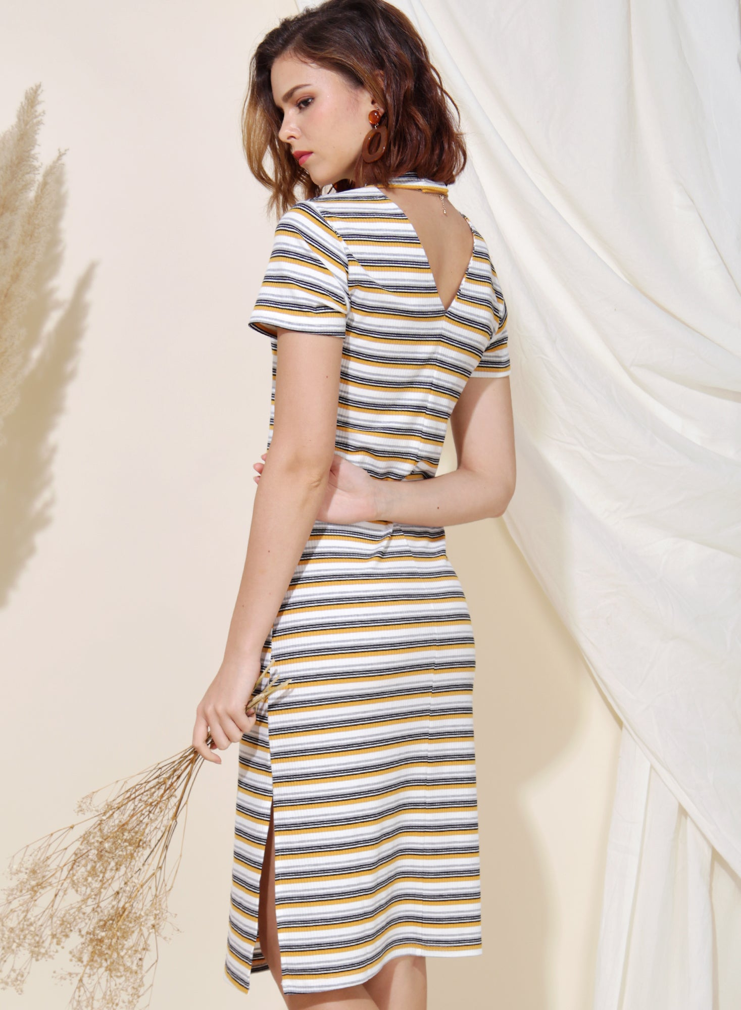 Revolve Ribbed Knit Midi Dress (Yellow Stripes) at $ 39.90 only sold at And Well Dressed Online Fashion Store Singapore