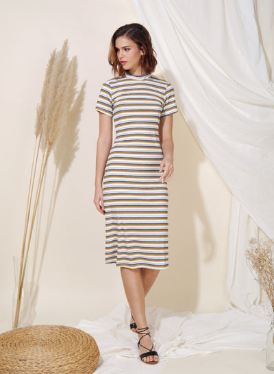 Revolve Ribbed Knit Midi Dress (Yellow Stripes) - And Well Dressed