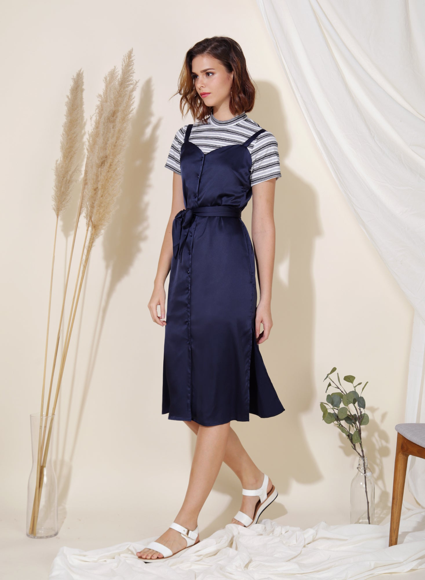 Flicker Button Down Silk Dress (Navy) at $ 41.50 only sold at And Well Dressed Online Fashion Store Singapore