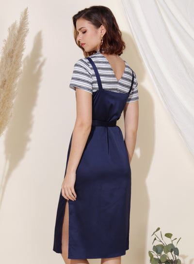 Flicker Button Down Silk Dress (Navy) - And Well Dressed