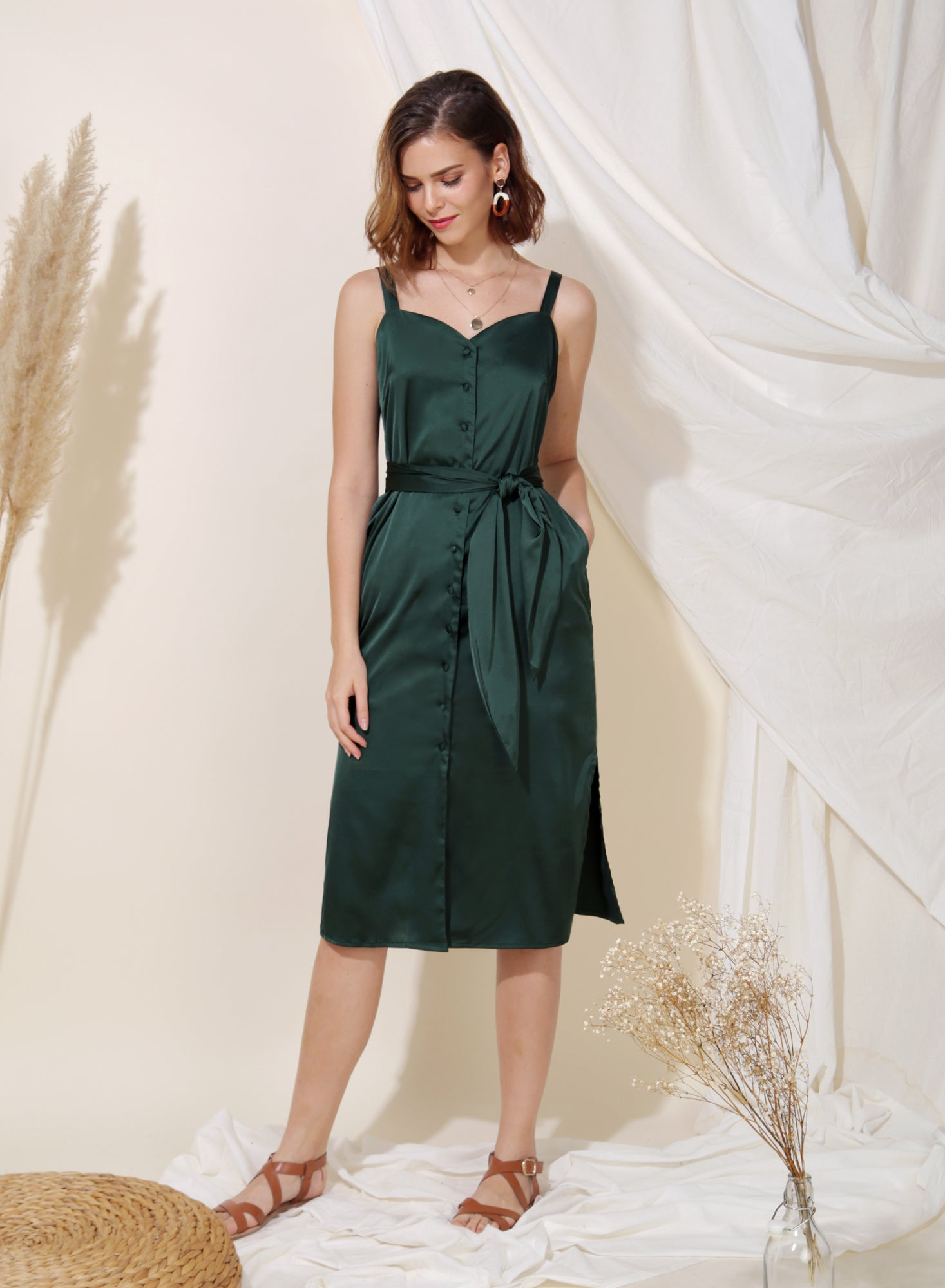 Flicker Button Down Silk Dress (Forest) at $ 41.50 only sold at And Well Dressed Online Fashion Store Singapore
