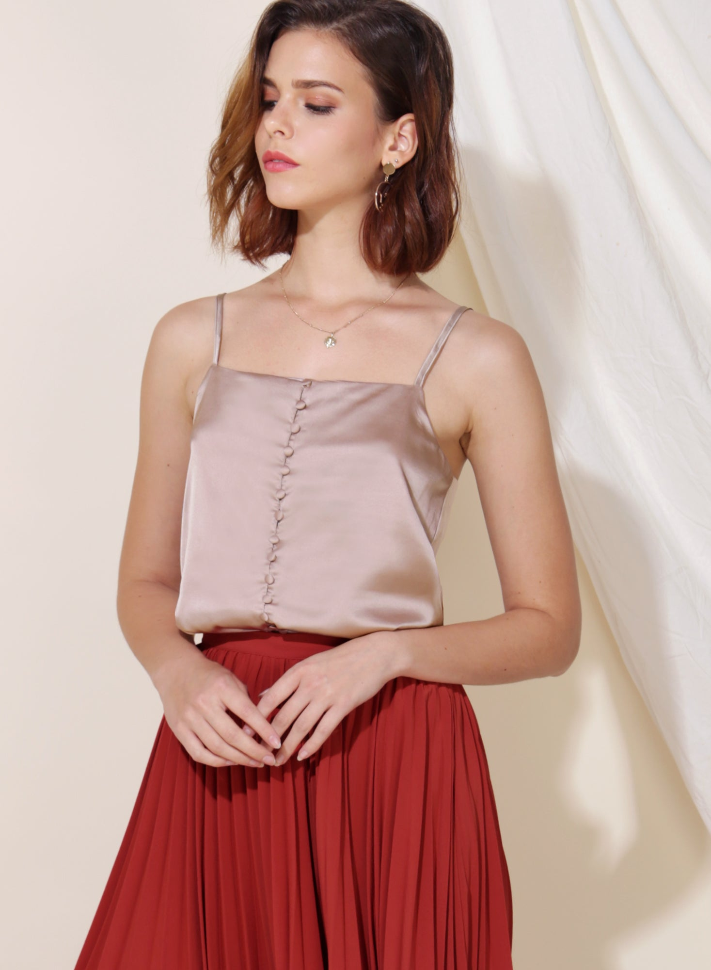Gleam Button Front Silk Top (Taupe)