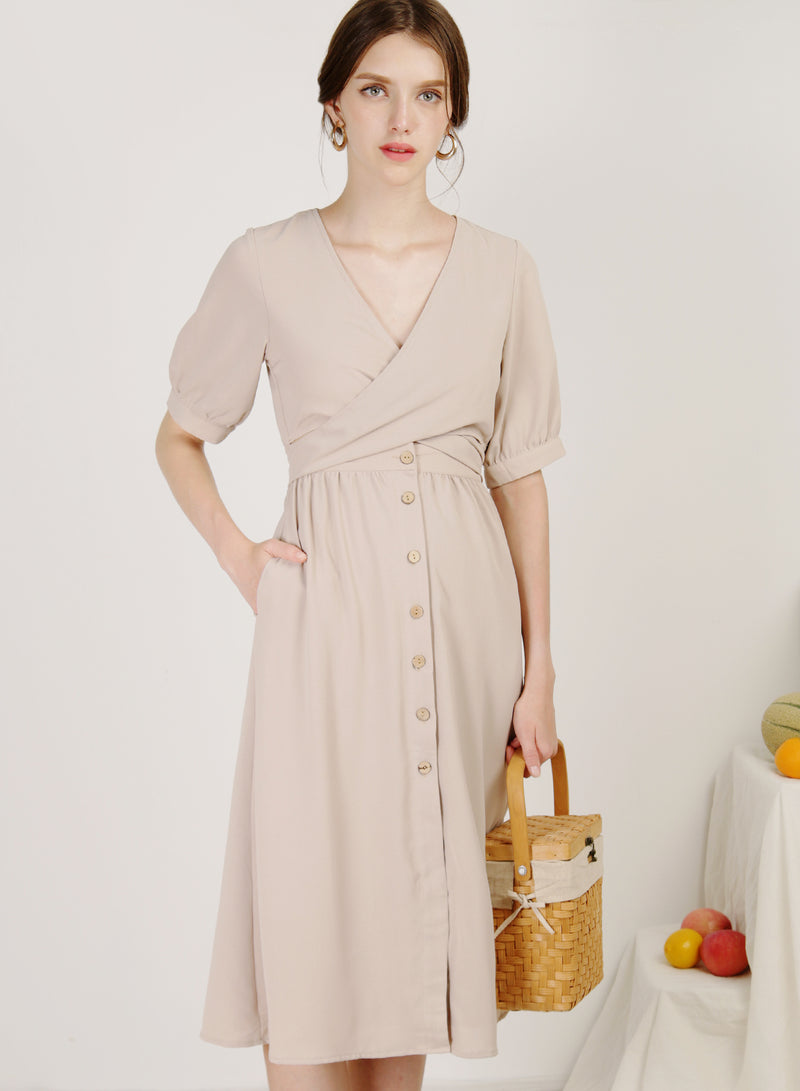 Sol Wrap Front Button Down Dress (Almond)