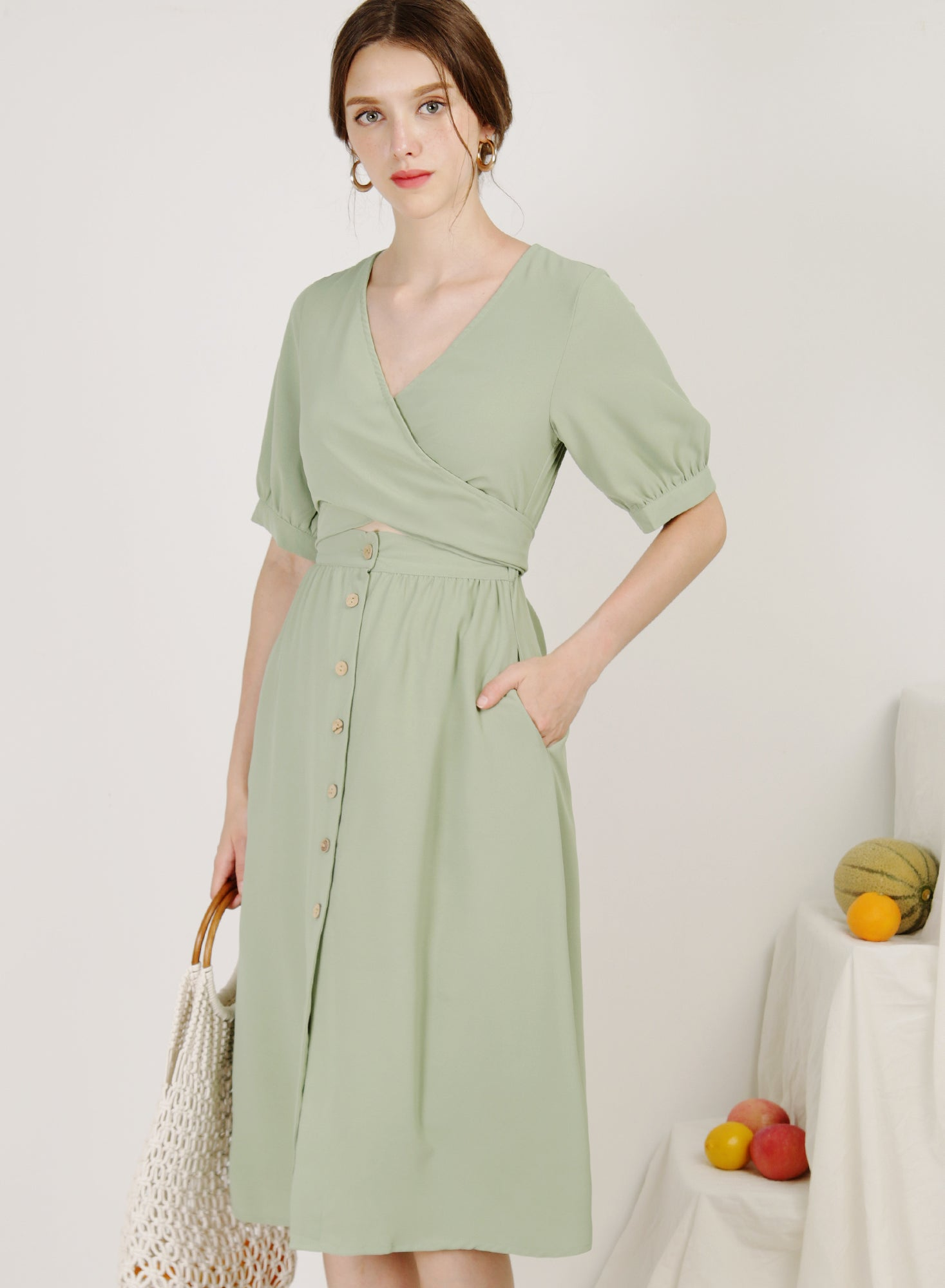 Sol Wrap Front Button Down Dress (Pistachio)