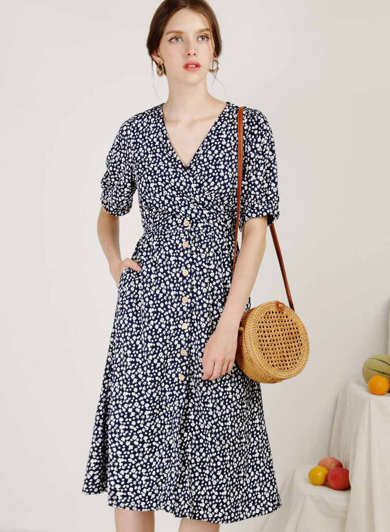 Sol Wrap Front Button Down Dress (Mini Floral)