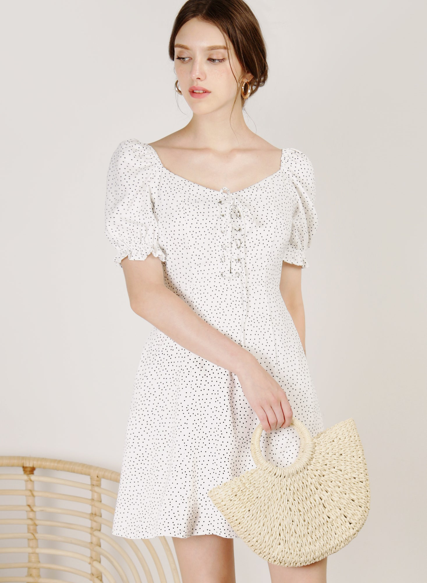 Dulce Lace Up Front Dress (White Polka)