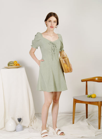Dulce Lace Up Front Dress (Sage Polka)