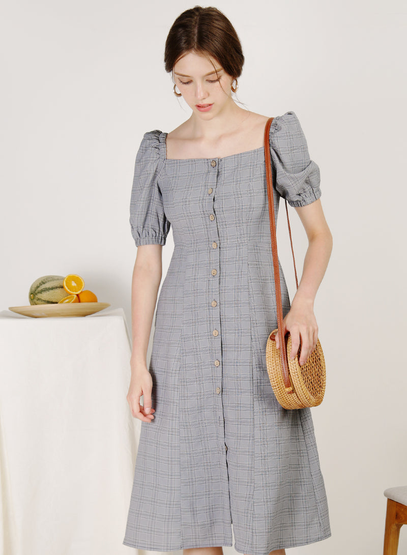 Fresca Puff Sleeves Button Down Dress (Navy Checks)
