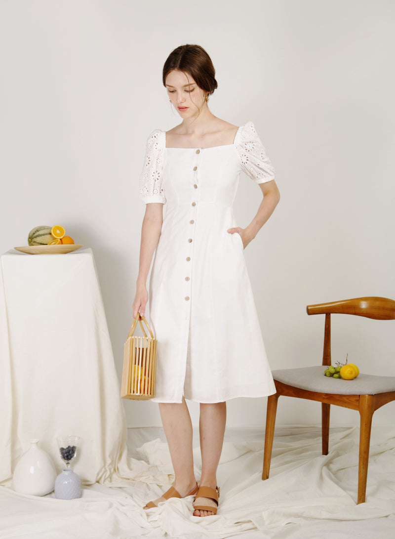 Fresca Puff Sleeves Button Down Dress (White)