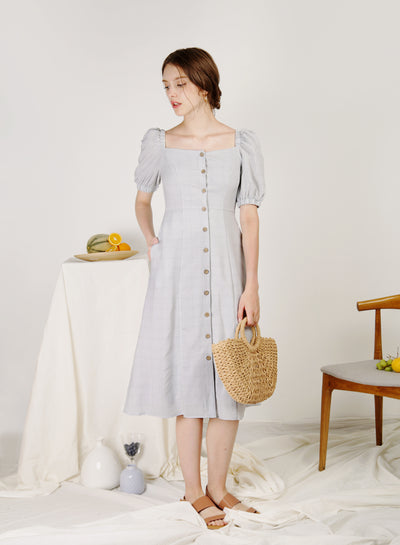 Fresca Puff Sleeves Button Down Dress (Grey Checks)