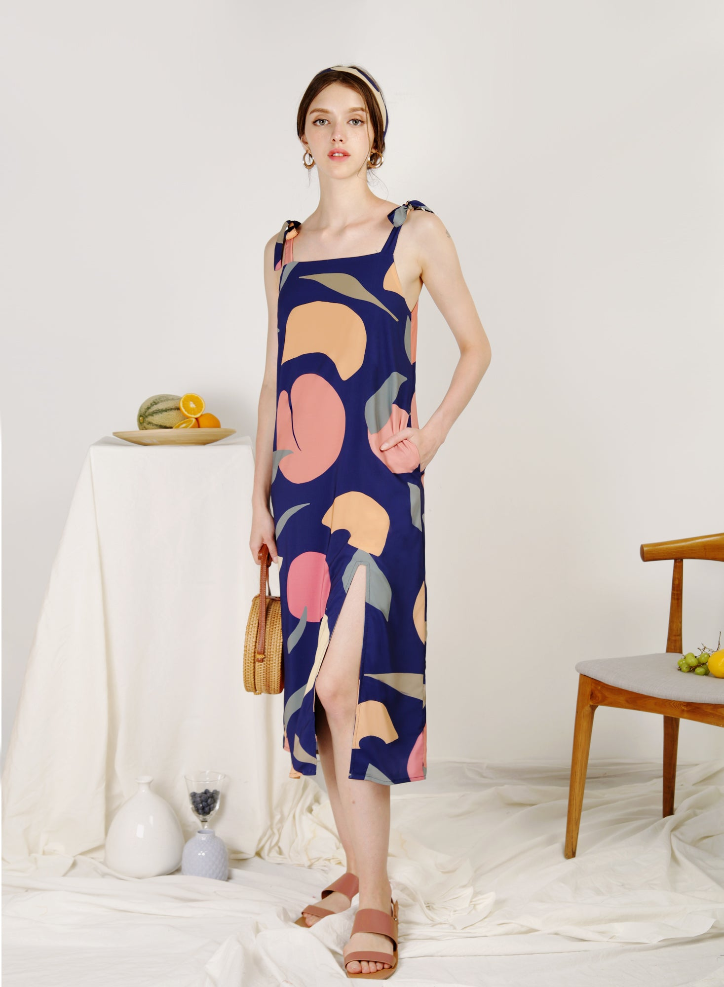 Season Split Front Midi Dress (Fruta Navy)