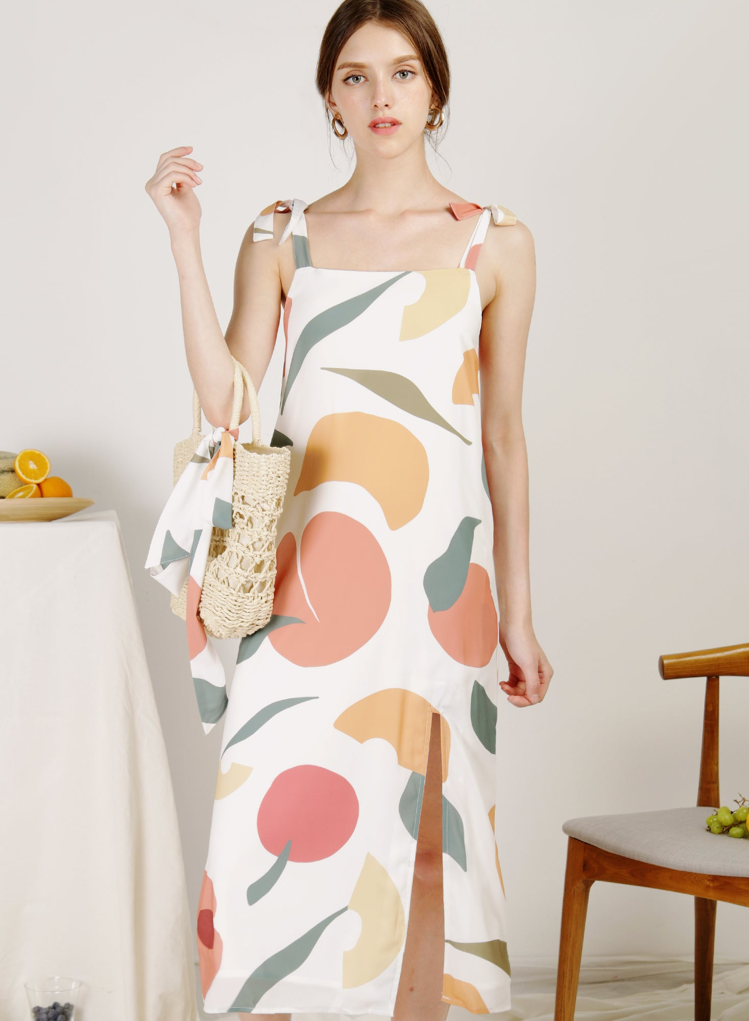 Season Split Front Midi Dress (Fruta White)