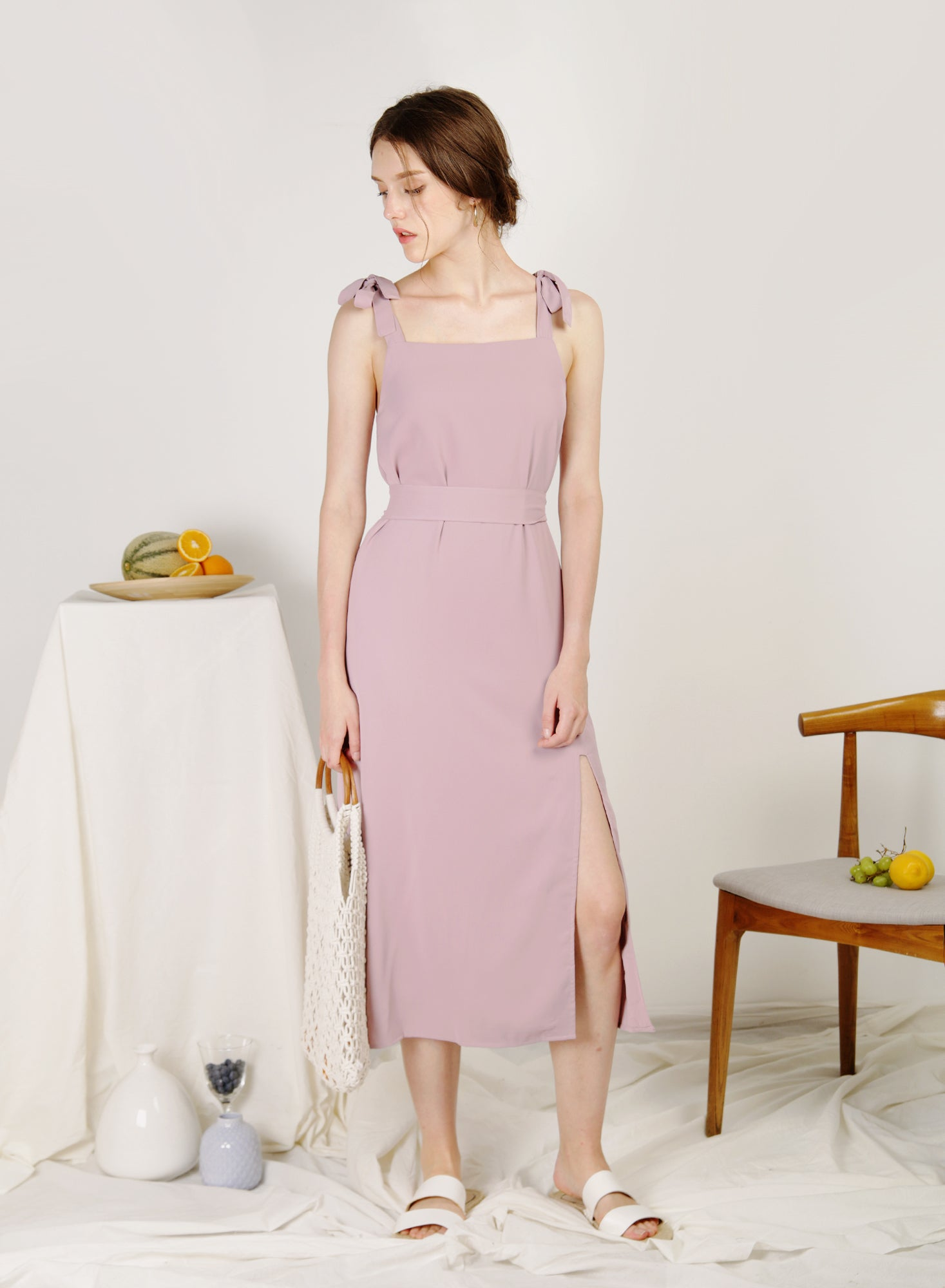 Season Split Front Midi Dress (Wisteria)