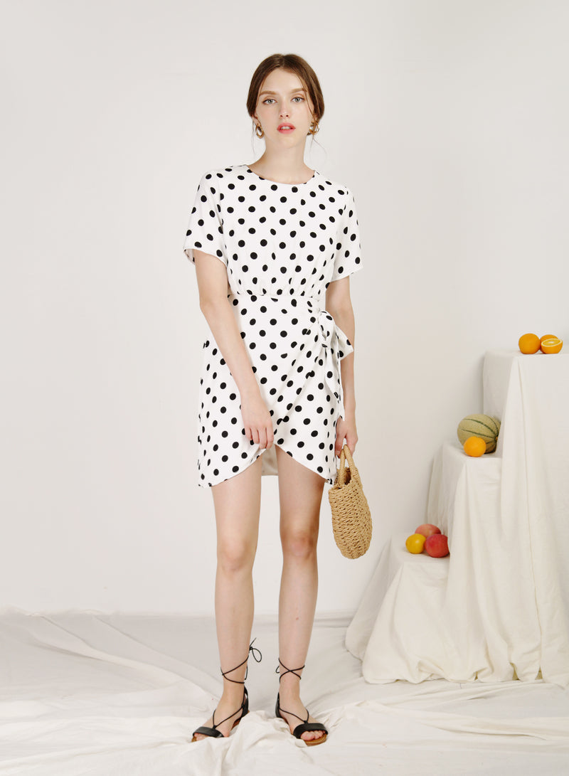 Elude Overlap Bottom Dress (White Polka)