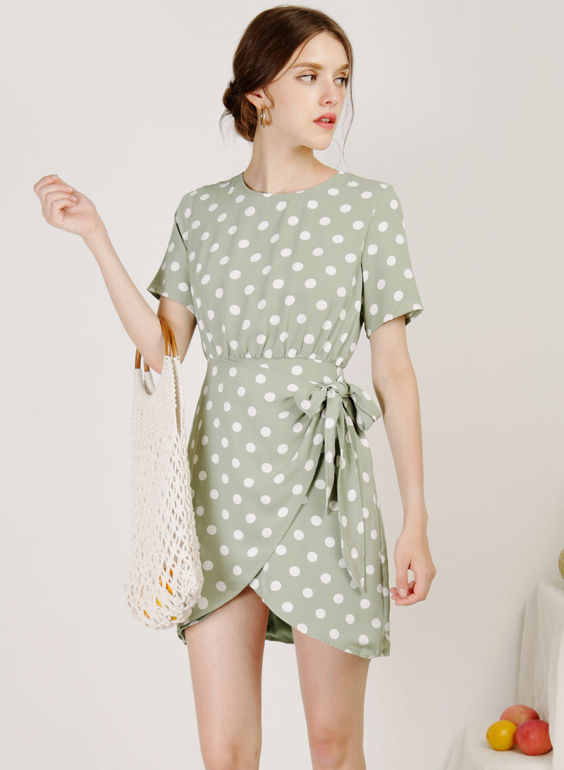 Elude Overlap Bottom Dress (Sage Polka)
