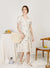 Alegria Buttoned Side Wrap Dress (Cream)