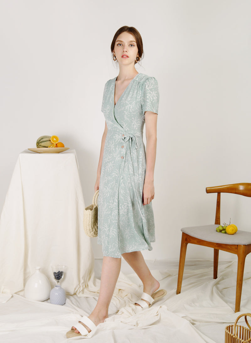 Alegria Buttoned Side Wrap Dress (Seafoam)
