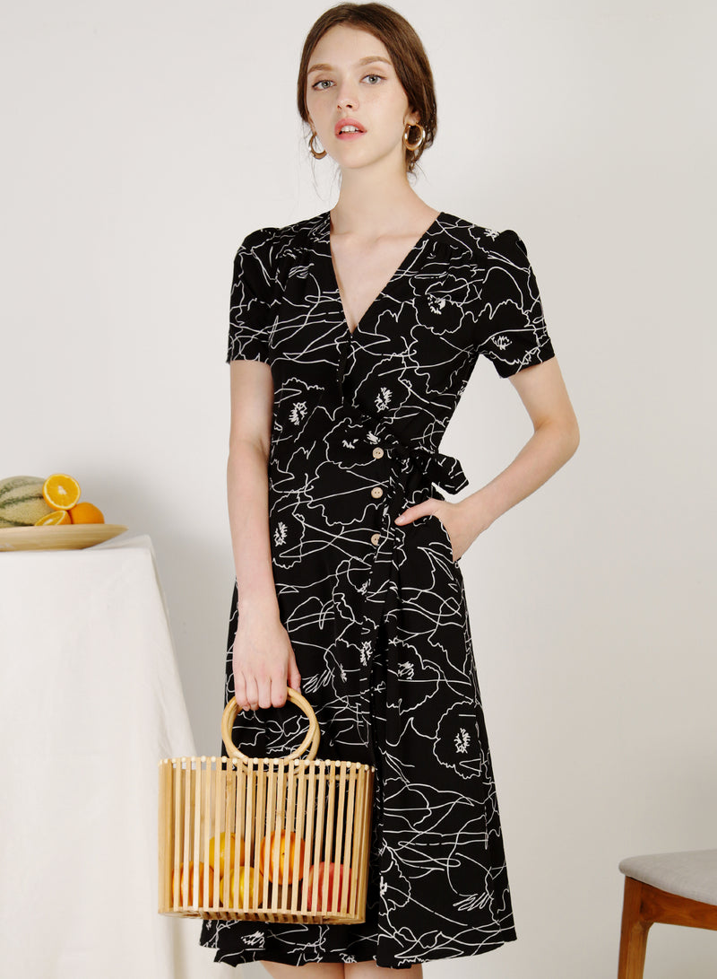Alegria Buttoned Side Wrap Dress (Black)
