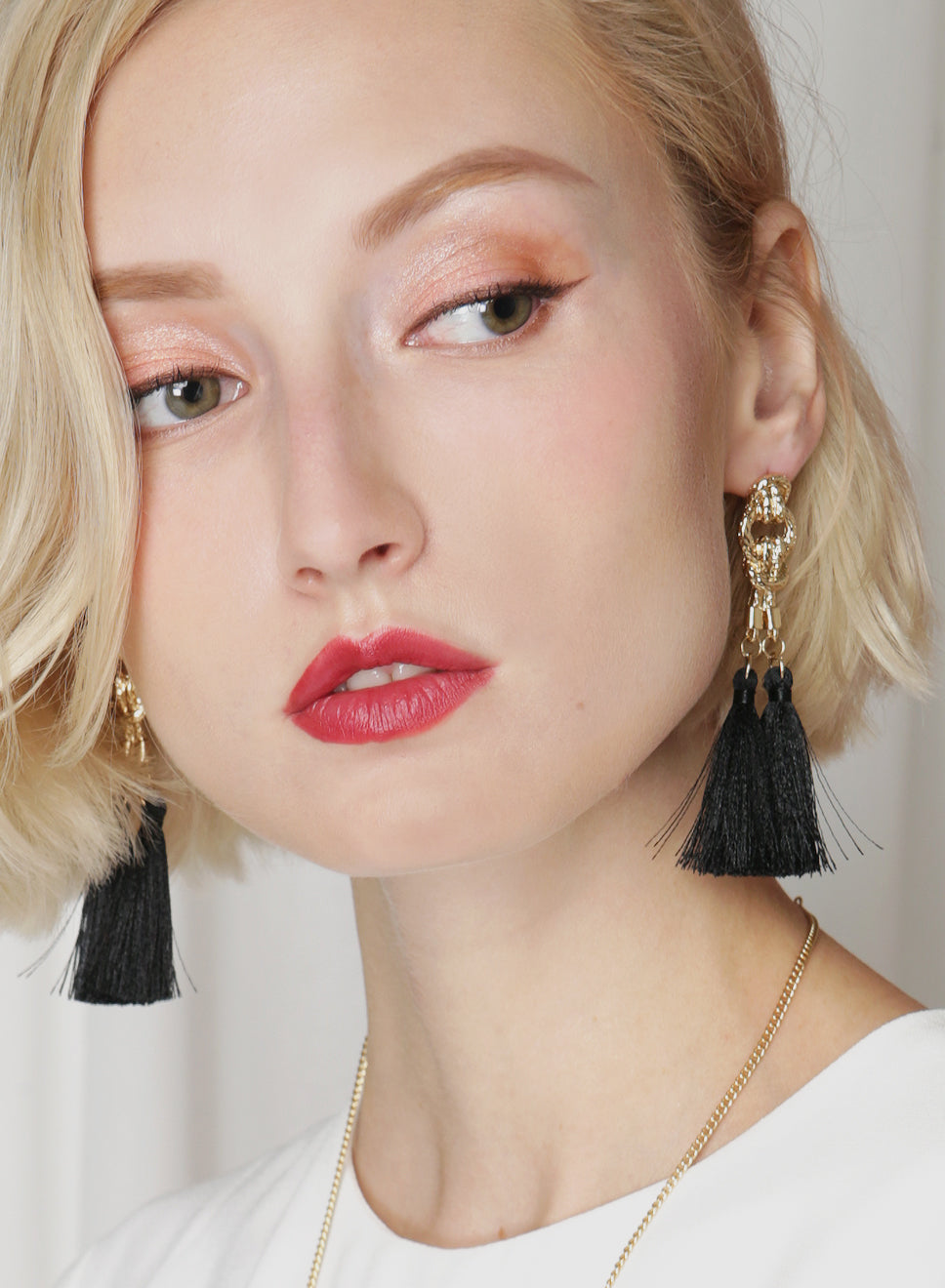 AVERY Double Drop Tassels Earrings (Black) at $ 18.00 only sold at And Well Dressed Online Fashion Store Singapore