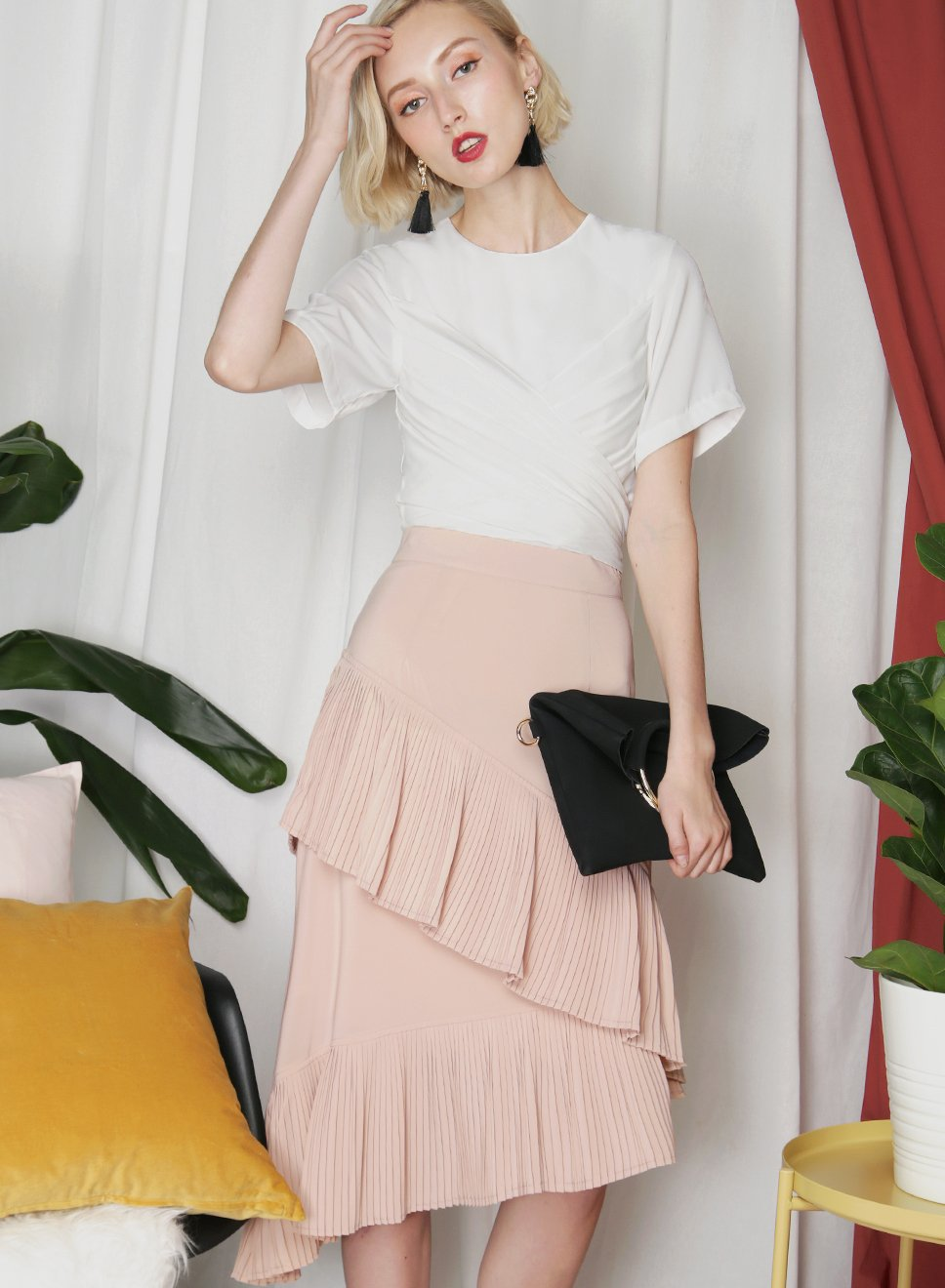 ECHO Asymmetric Pleats Midi Skirt (Nude Blush) - And Well Dressed