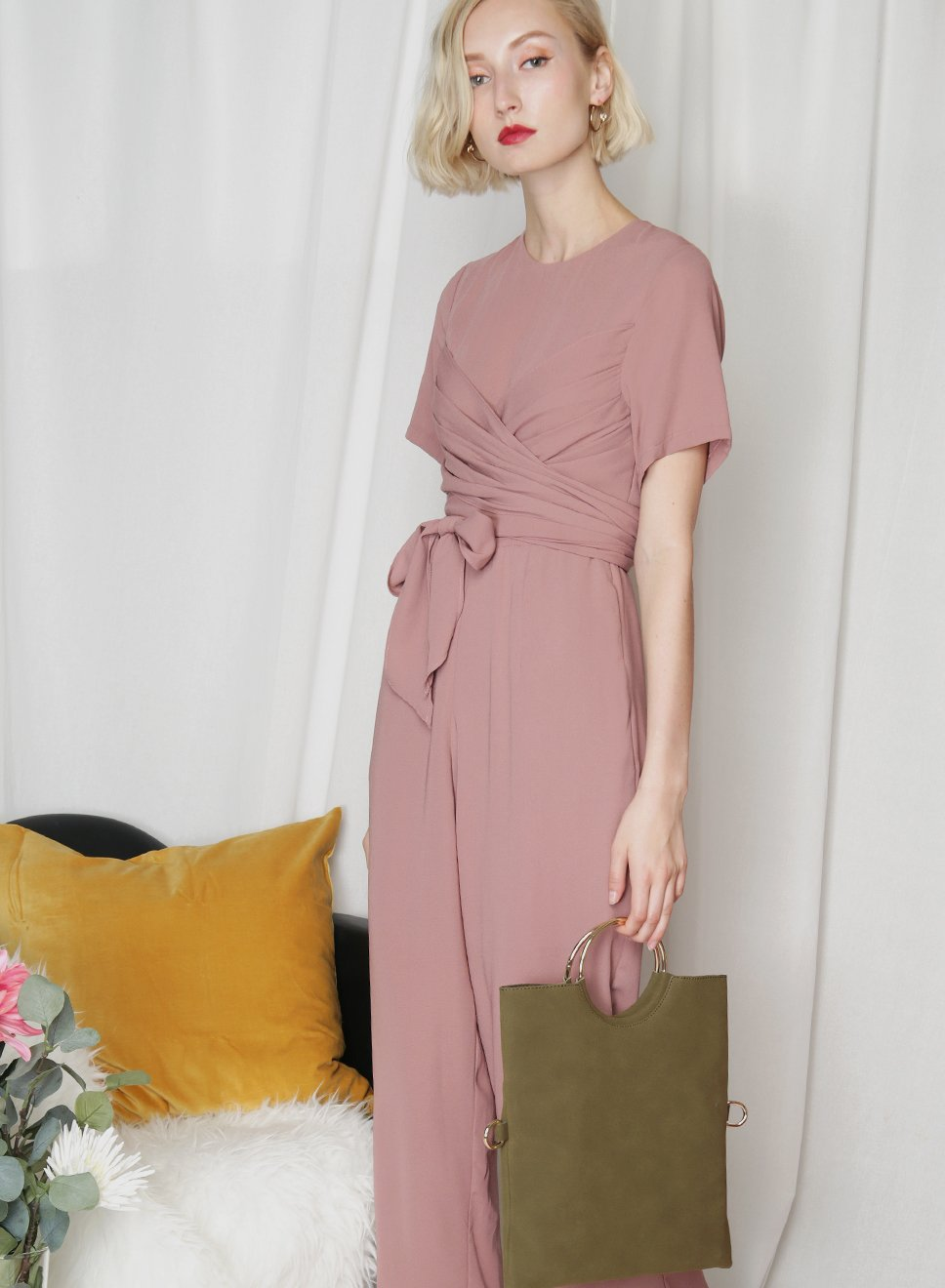 STARLIGHT Wrap Front Jumpsuit (Tea Rose) - And Well Dressed