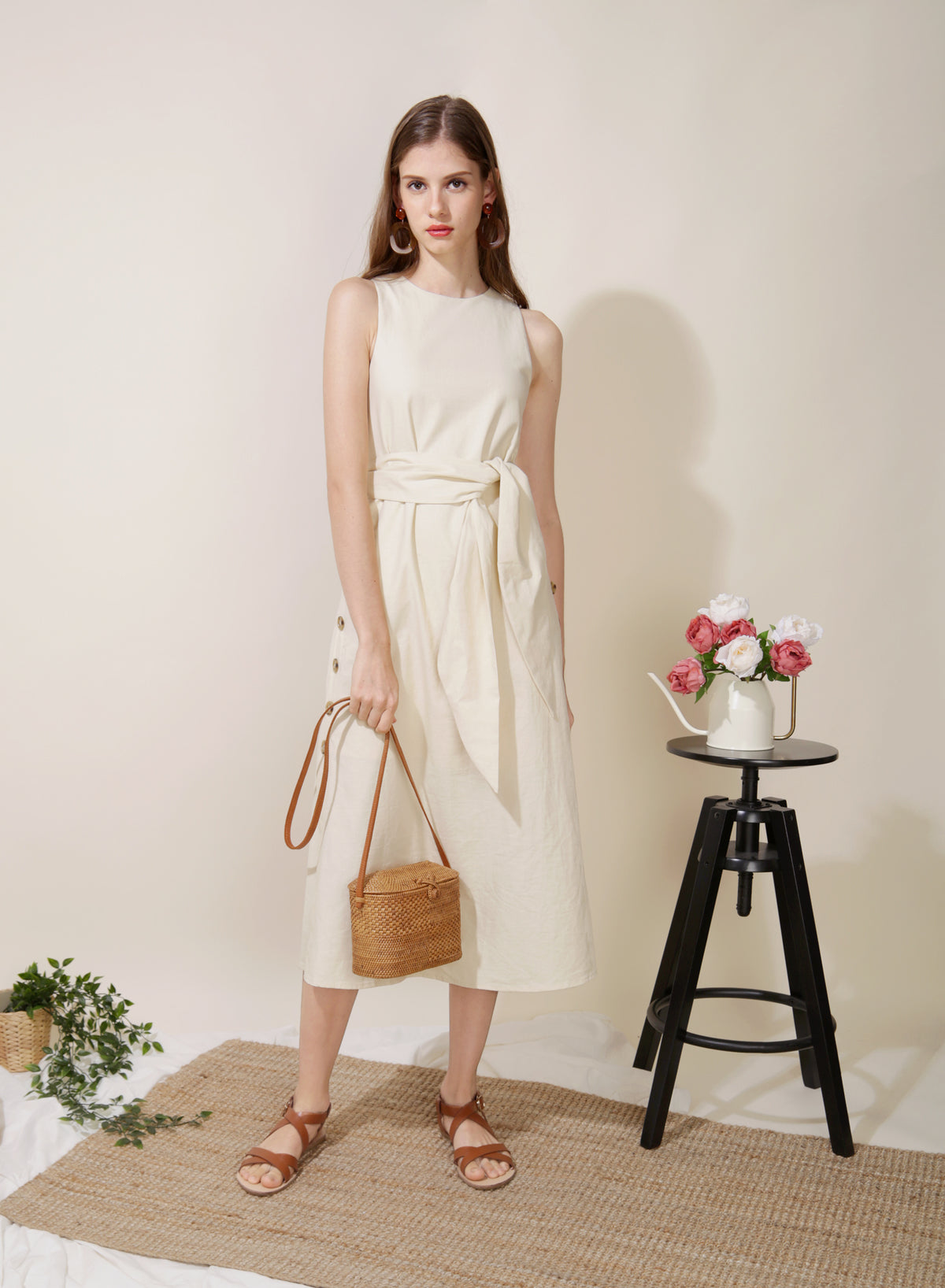 Philosophy Button Sides Midi Dress (Cremé) at $ 45.00 only sold at And Well Dressed Online Fashion Store Singapore