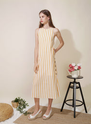 BACKORDER: Philosophy Button Sides Midi Dress (Yellow Stripes) at $ 45.00 only sold at And Well Dressed Online Fashion Store Singapore