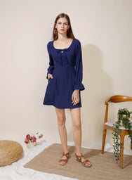 Gallery Tie Front Flared Dress (Navy) at $ 42.50 only sold at And Well Dressed Online Fashion Store Singapore