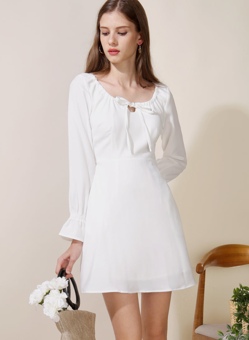 Gallery Tie Front Flared Dress (White) - And Well Dressed
