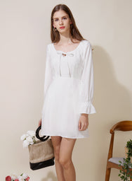 Gallery Tie Front Flared Dress (White) at $ 42.50 only sold at And Well Dressed Online Fashion Store Singapore