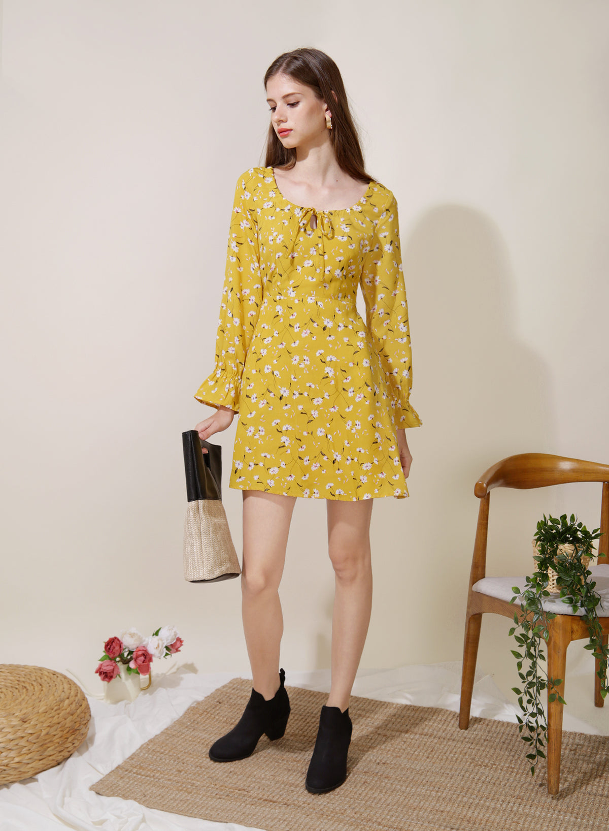 Gallery Tie Front Flared Dress (Floral) at $ 42.50 only sold at And Well Dressed Online Fashion Store Singapore