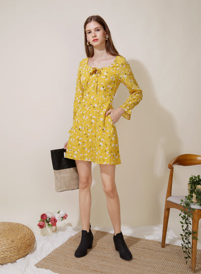 Gallery Tie Front Flared Dress (Floral) - And Well Dressed