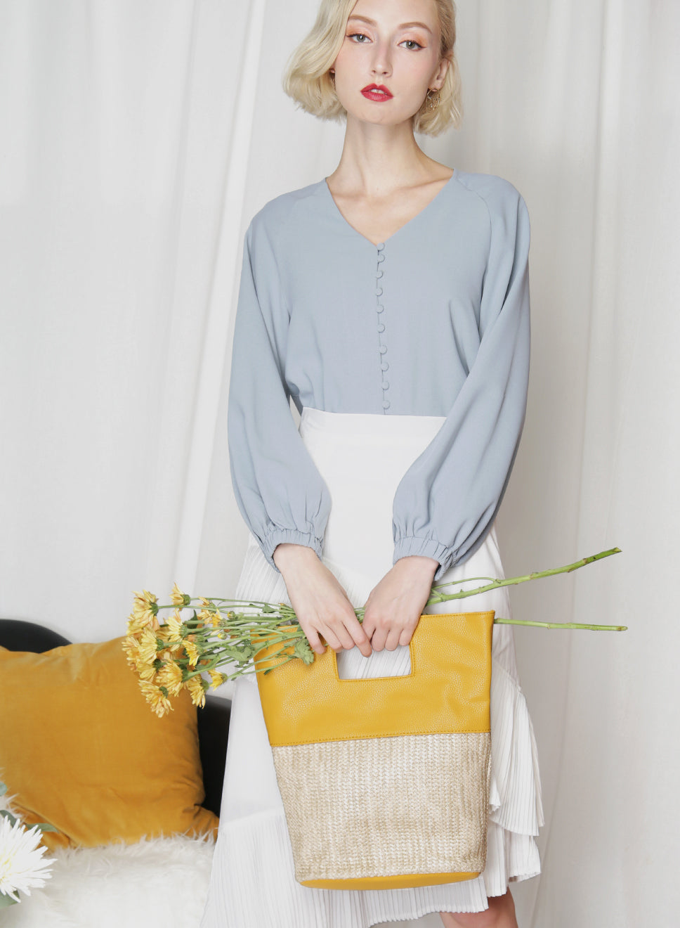 MAE Straw Tote (Mustard) at $ 32.50 only sold at And Well Dressed Online Fashion Store Singapore