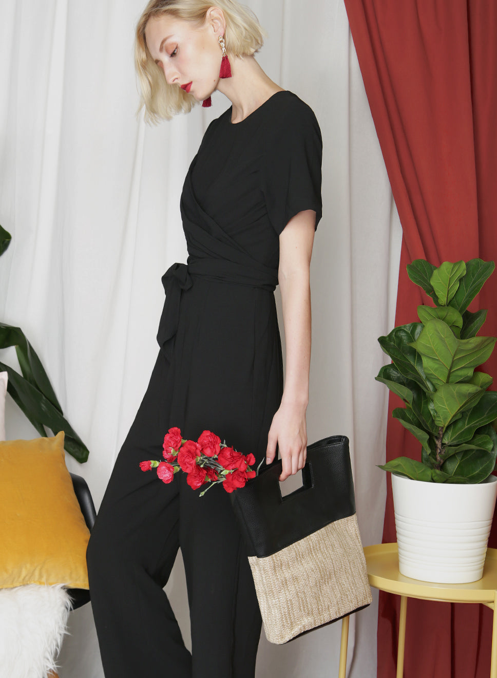 MAE Straw Tote (Black) - And Well Dressed
