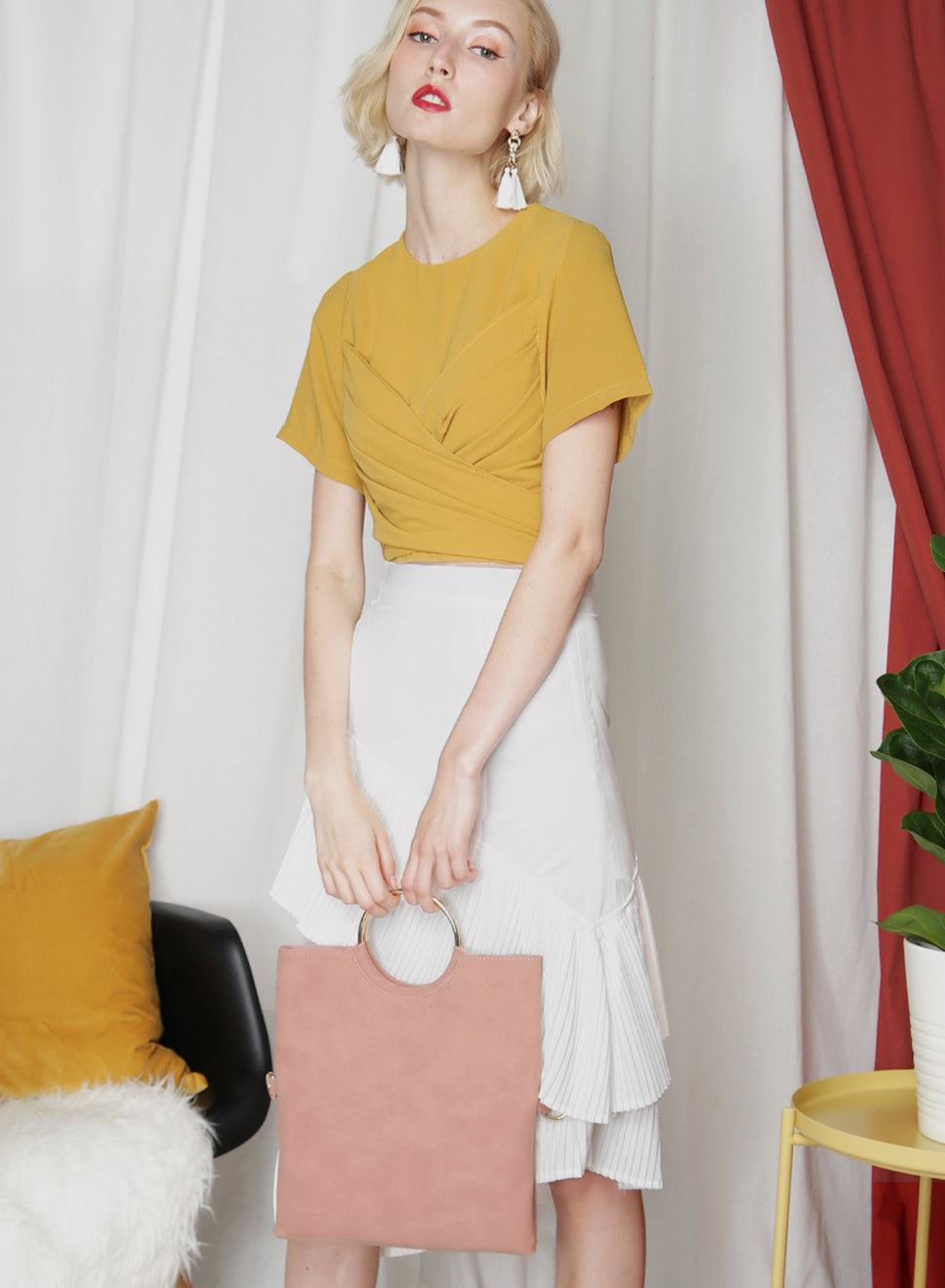 Nova Suede Foldover Clutch (Blush) at $ 32.00 only sold at And Well Dressed Online Fashion Store Singapore