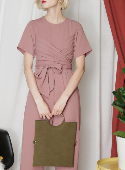 Nova Suede Foldover Clutch (Olive) at $ 15.00 only sold at And Well Dressed Online Fashion Store Singapore