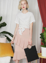MEMOIR Wrap Front Top (White) at $ 27.50 only sold at And Well Dressed Online Fashion Store Singapore