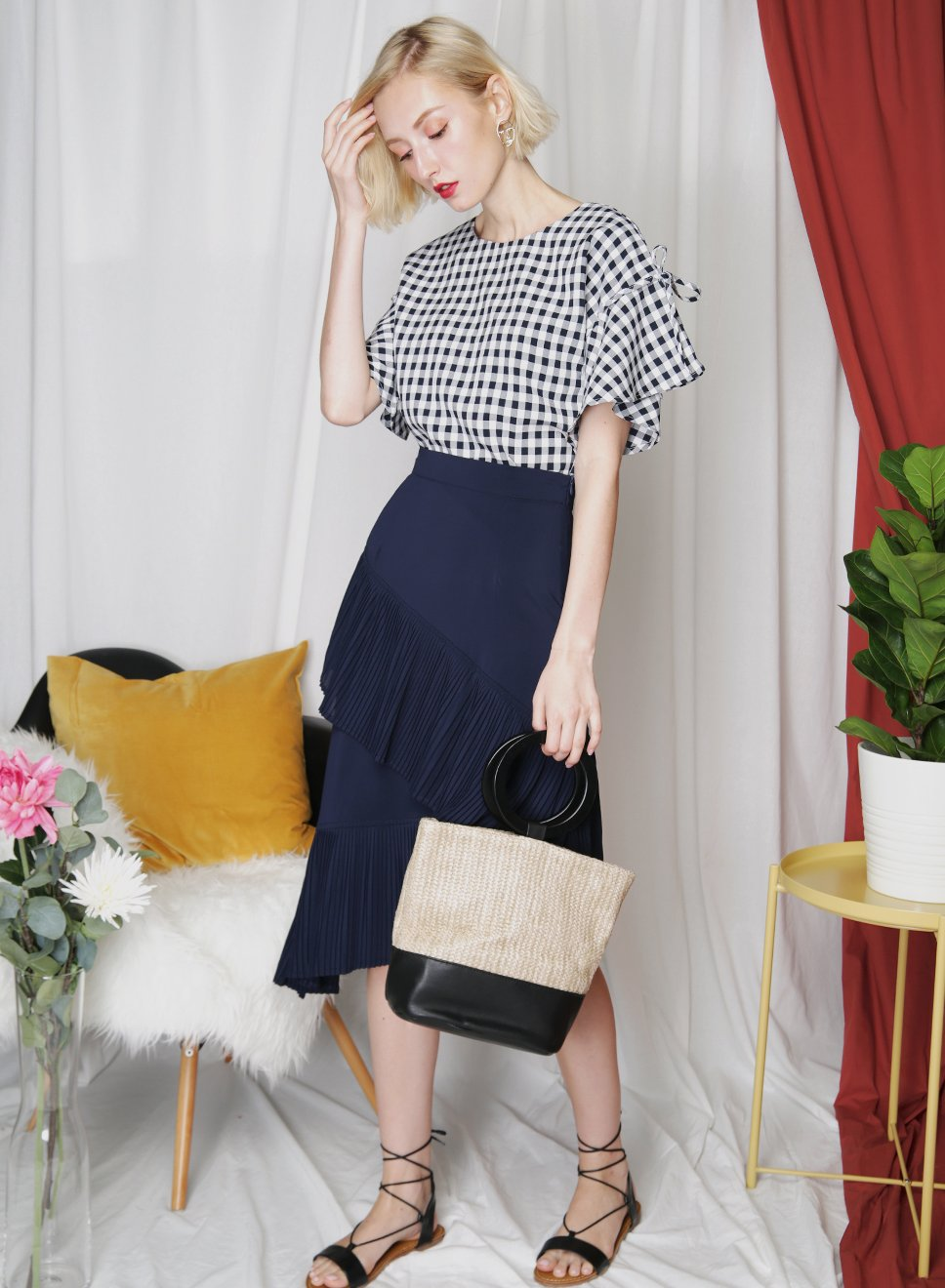 MUSE Gingham Ruffle Top (Navy) - And Well Dressed