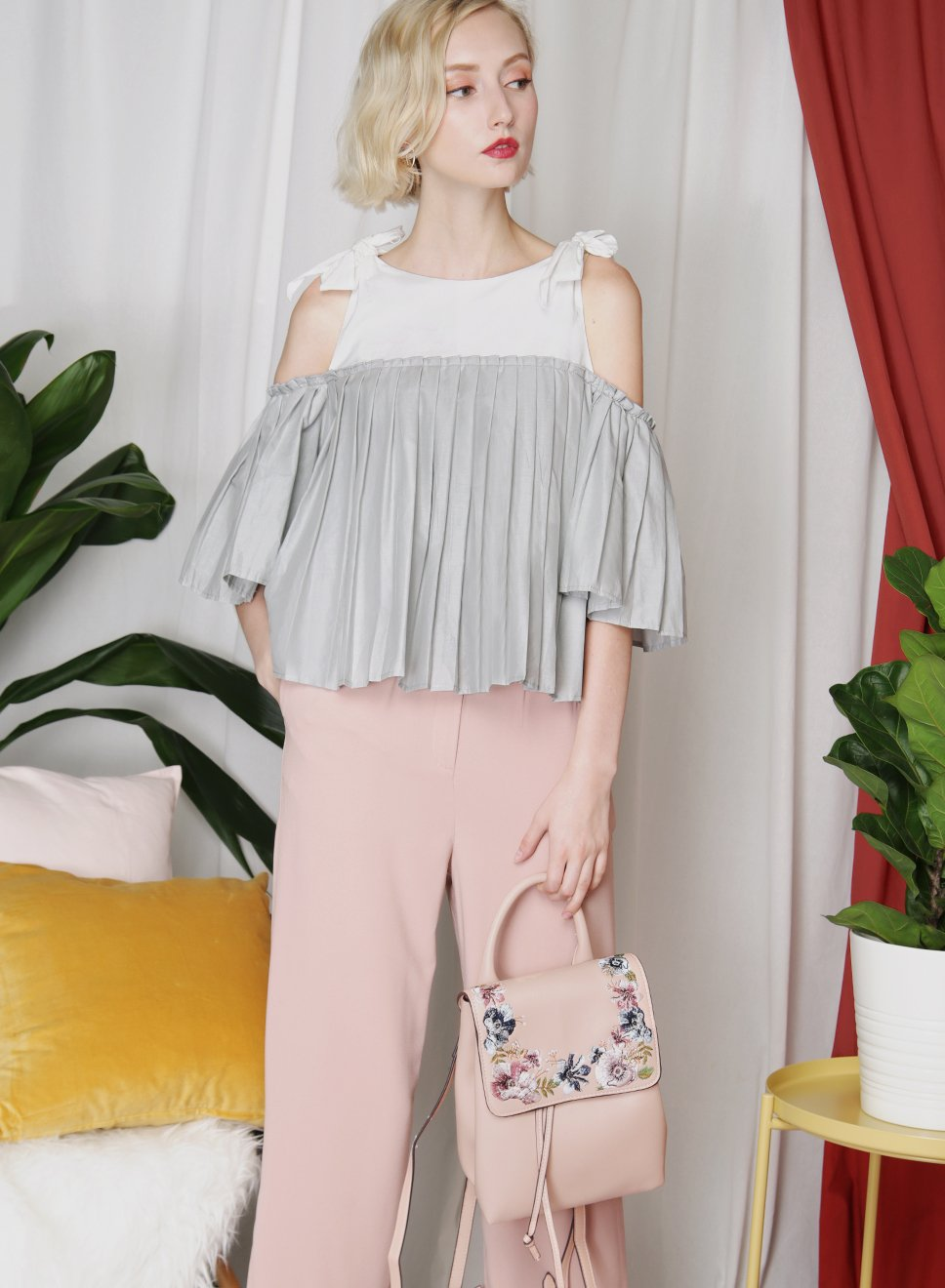 FRONTIER Pleated Contrast Top (Grey) at $ 34.50 only sold at And Well Dressed Online Fashion Store Singapore