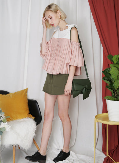FRONTIER Pleated Contrast Top (Blush) at $ 34.50 only sold at And Well Dressed Online Fashion Store Singapore