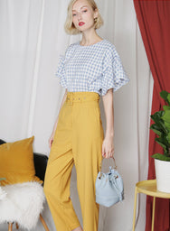 SPRUCE Belted High Waisted Pants (Mustard) - And Well Dressed