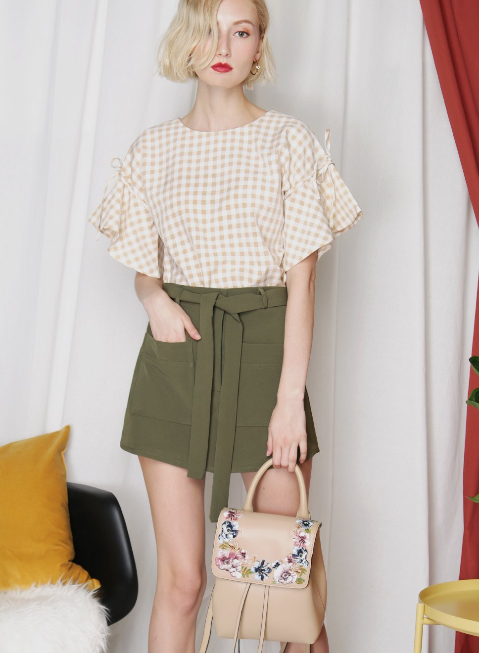 MUSE Gingham Ruffle Top (Oat) at $ 34.50 only sold at And Well Dressed Online Fashion Store Singapore