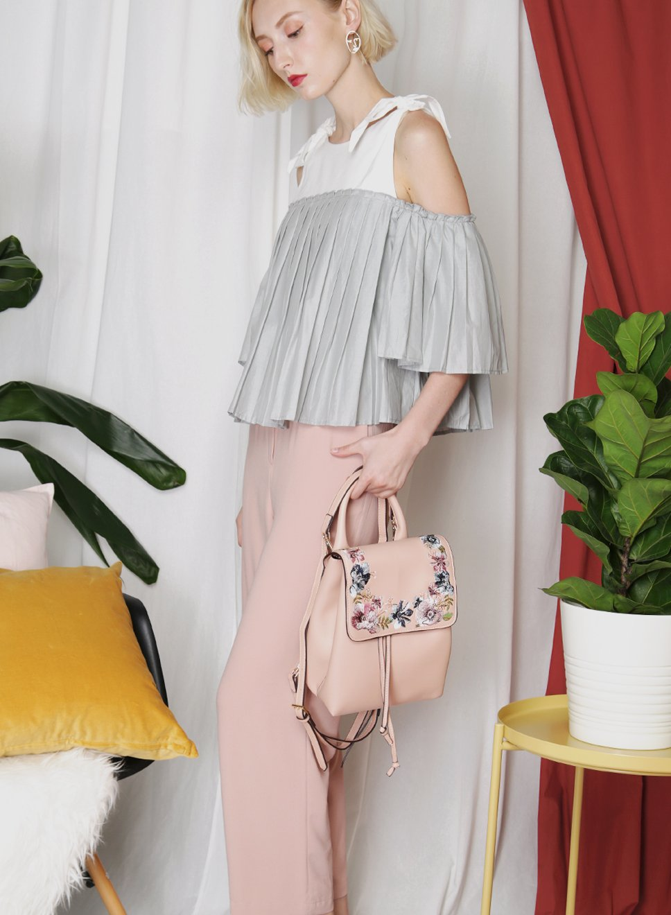 SPRUCE Belted High Waisted Pants (Blush) at $ 36.50 only sold at And Well Dressed Online Fashion Store Singapore