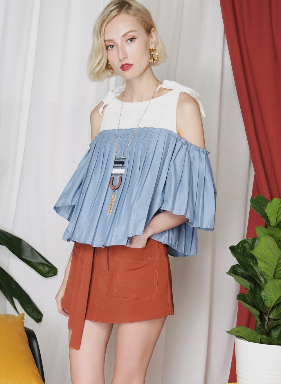 FRONTIER Pleated Contrast Top (Blue) at $34.50 only sold at And Well Dressed Online Fashion Store Singapore