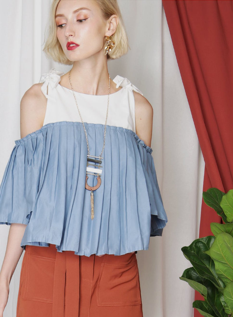 FRONTIER Pleated Contrast Top (Blue) at $ 25.50 only sold at And Well Dressed Online Fashion Store Singapore