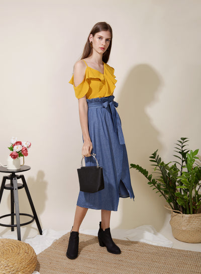 Sunlight Asymmetric Ruffle Top (Marigold) at $ 34.50 only sold at And Well Dressed Online Fashion Store Singapore
