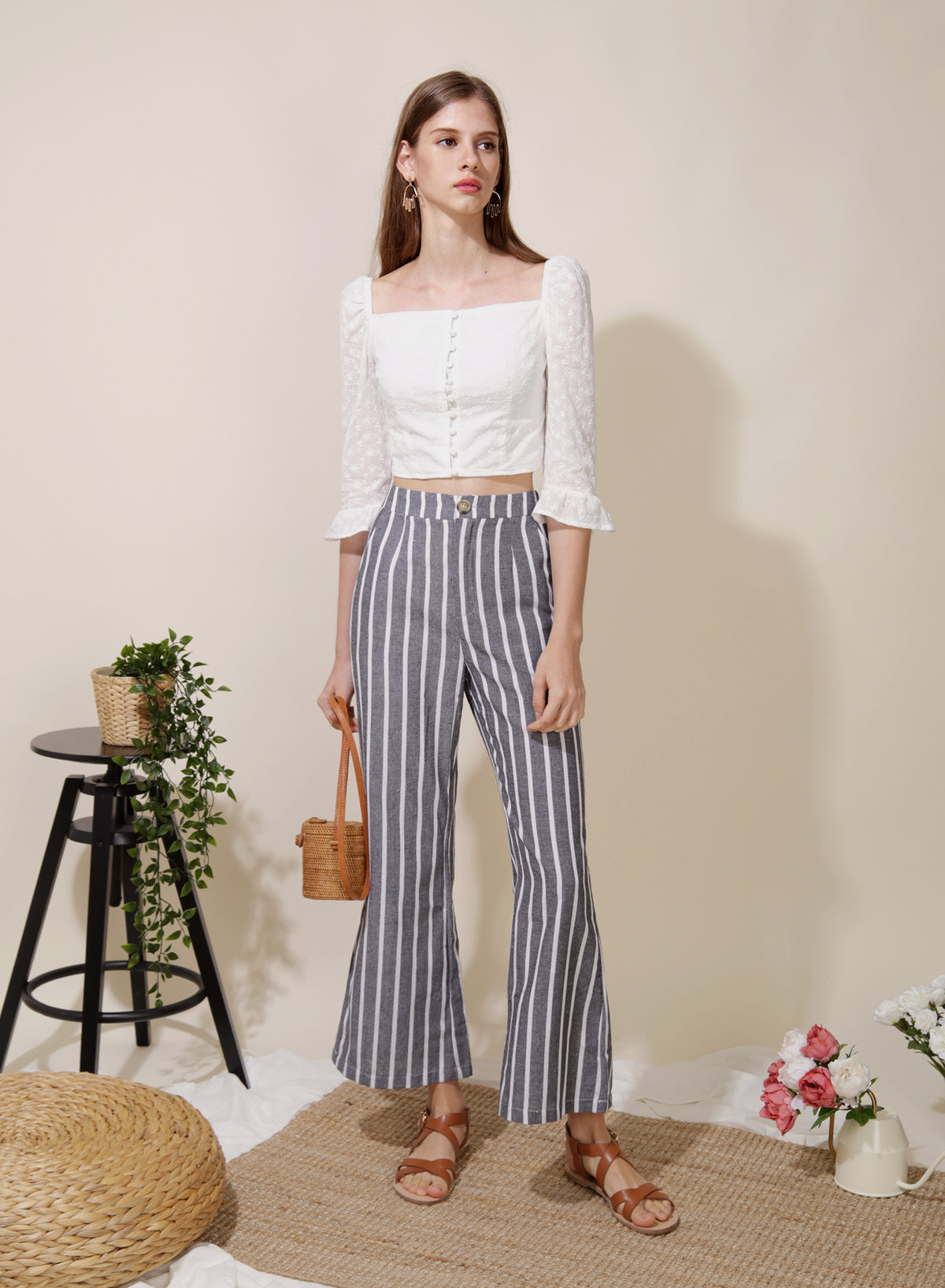 Belief Striped Linen Pants (Navy)