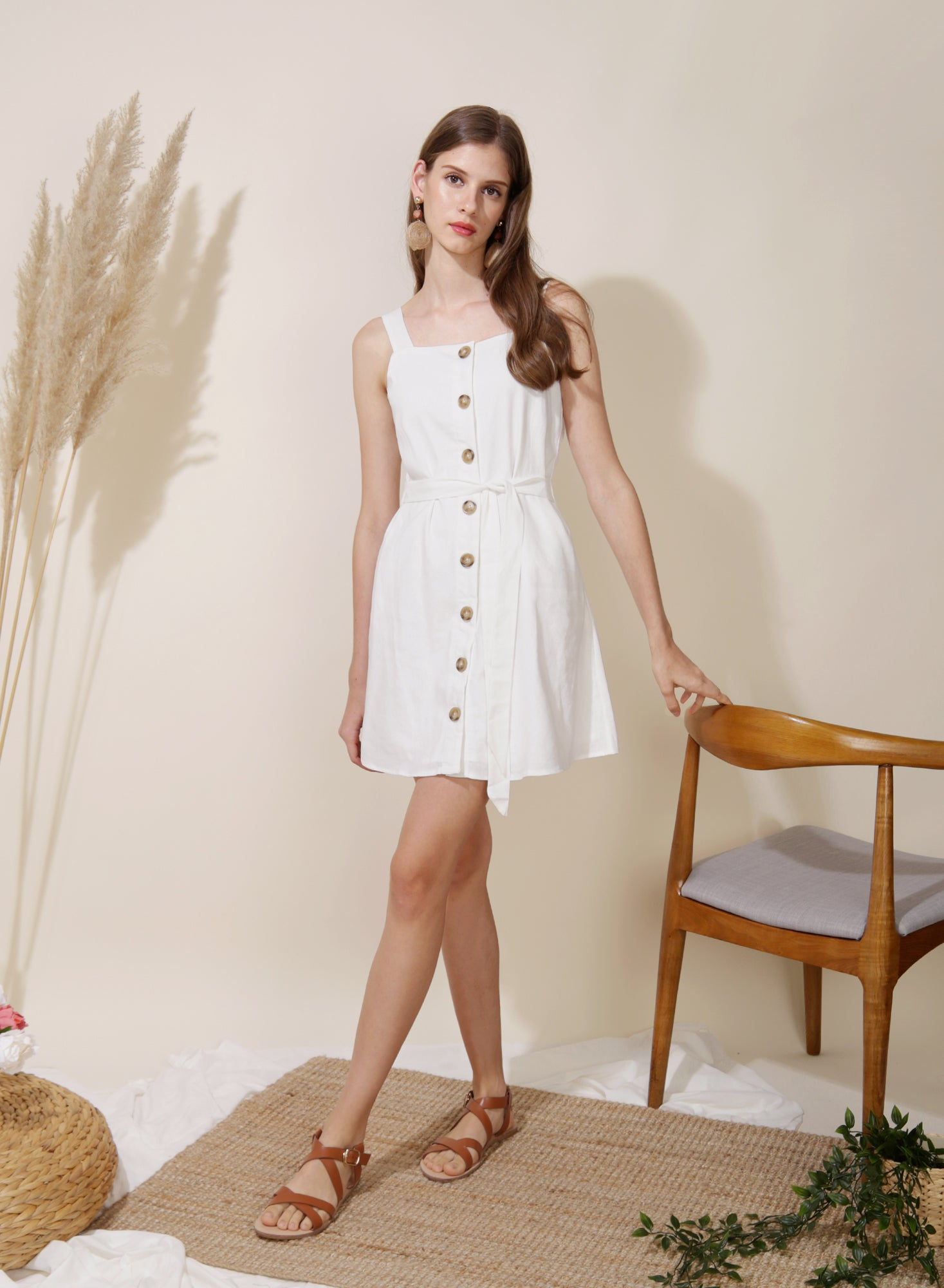 Finite Button Down Linen Dress (White)