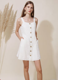 Finite Button Down Linen Dress (White) at $ 42.50 only sold at And Well Dressed Online Fashion Store Singapore