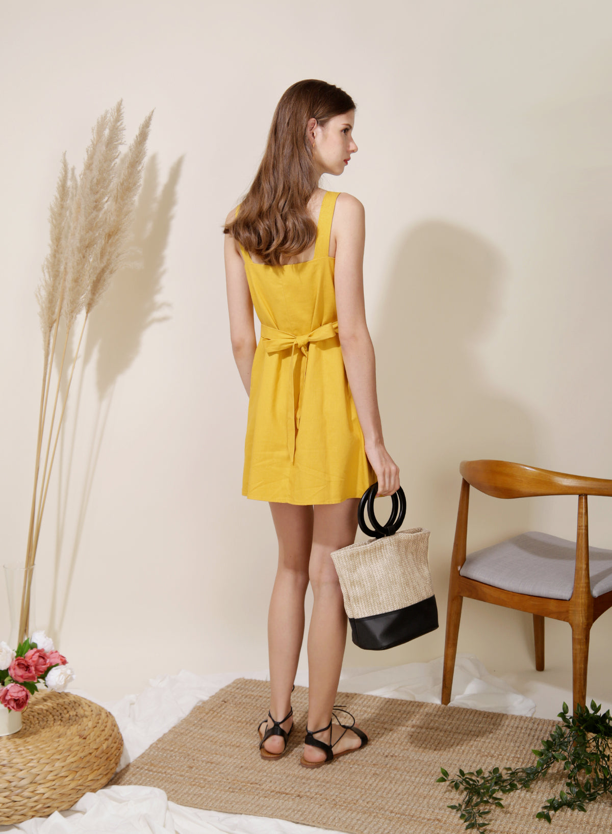 Finite Button Down Linen Dress (Sunshine) at $ 42.50 only sold at And Well Dressed Online Fashion Store Singapore
